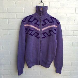 Vintage Hand Knit purple Sweater